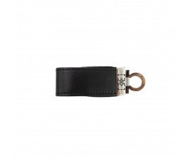 Metal USB Flash Drive with PU Leather Press Button Protection