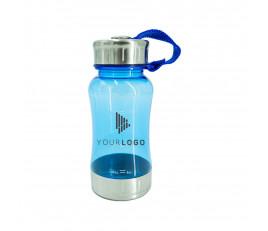 กระบอกน้ำพลาสติกใสคุณภาพพรีเมี่ยม พร้อมสายห้อยข้อ ขนาด 350 มล.
