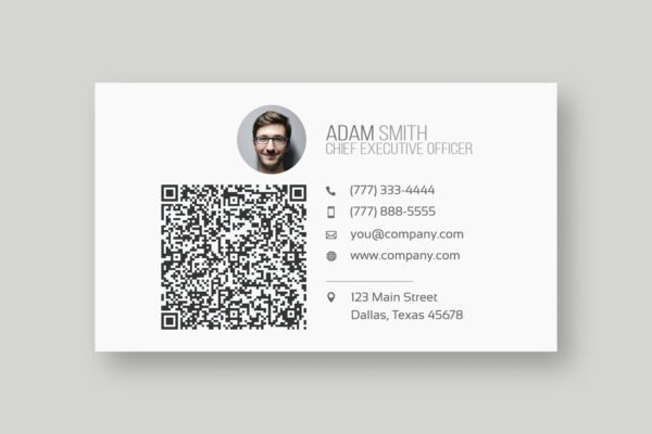 A perfect example of a business card with a QR Code