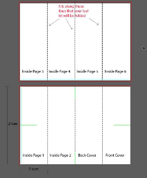 Artwork template for parallel fold leaflet