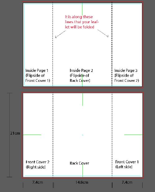 Artwork template for window fold leaflet