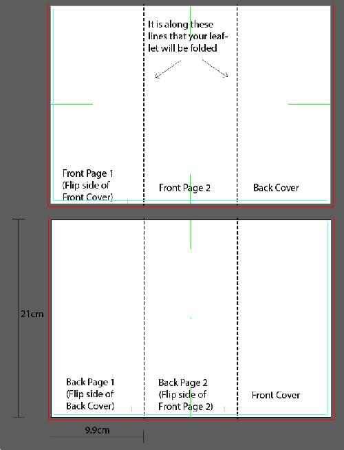 Artwork template for zigzag fold (2 fold) leaflet